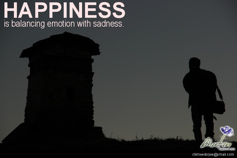 Happiness is balancing emotion with sadness.