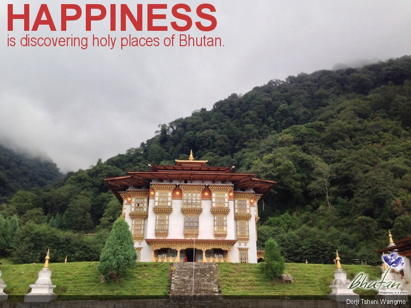 Happiness is discovering holy places of Bhutan.