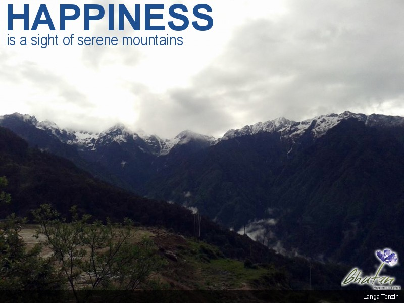 Happiness is a sight of serene mountains