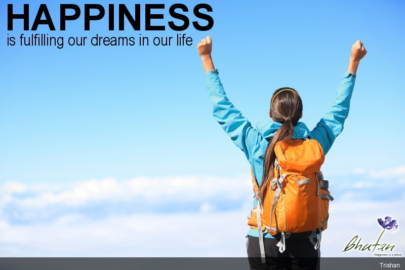 Happiness is fulfilling our dreams in our life