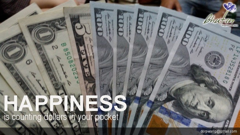 Happiness is counting dollars in your pocket