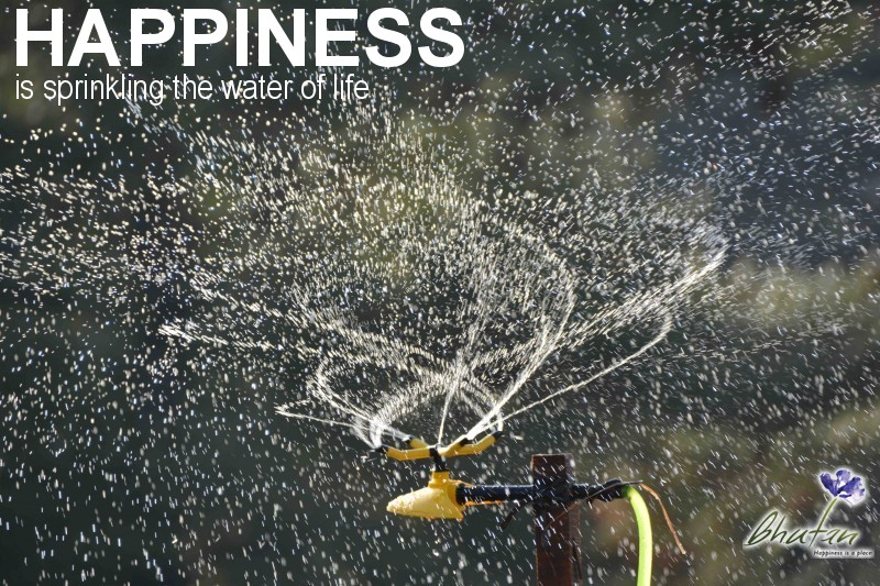 Happiness is sprinkling the water of life