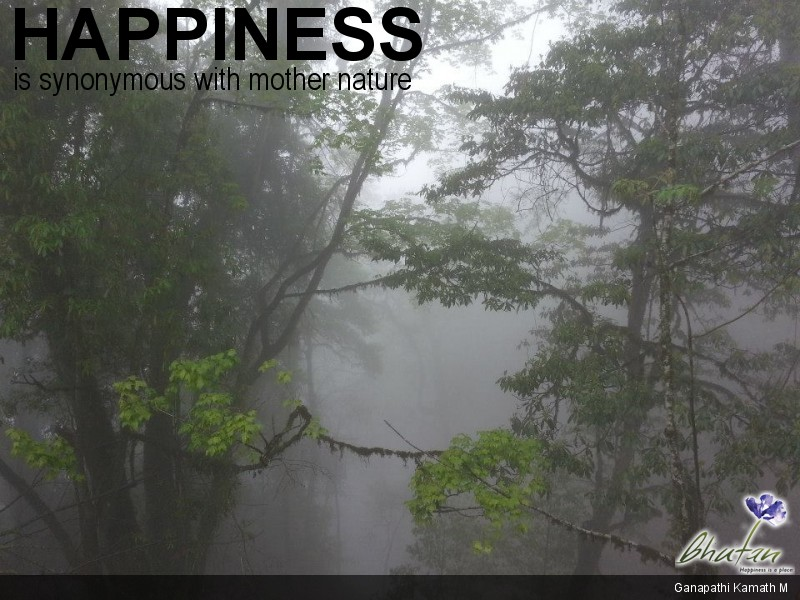 Happiness is synonymous with mother nature