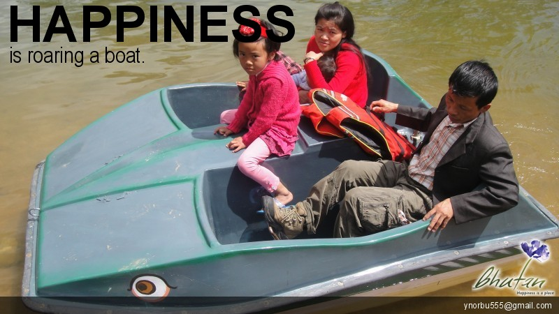 Happiness is roaring a boat.