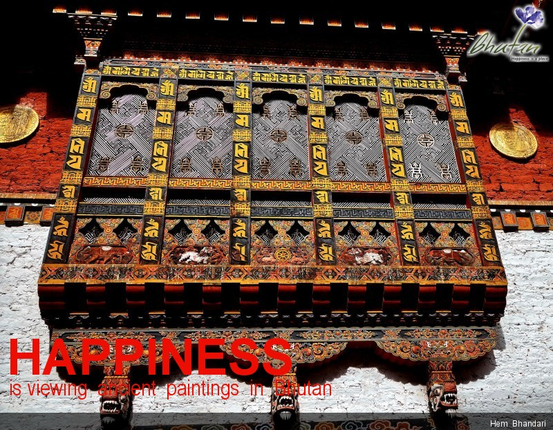 Happiness is viewing  ancient  paintings  in  Bhutan