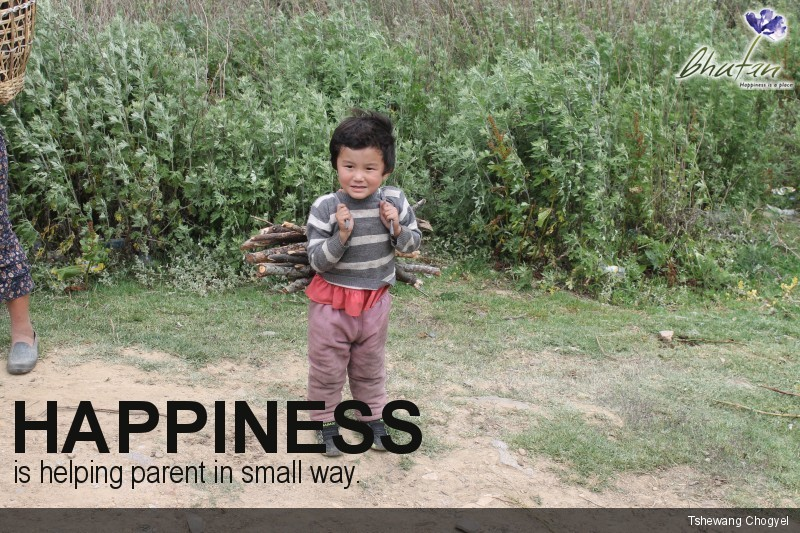 Happiness is helping parent in small way.