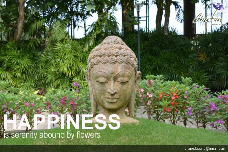 Happiness is serenity abound by flowers