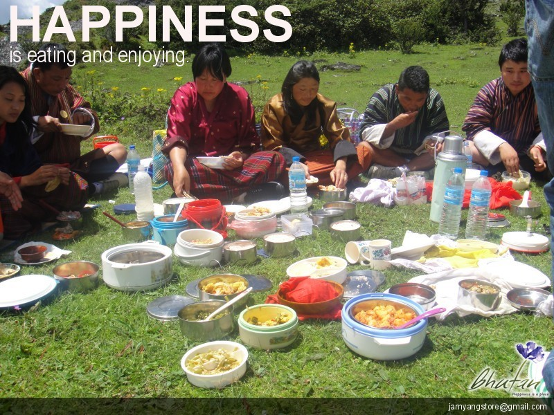 Happiness is eating and enjoying.