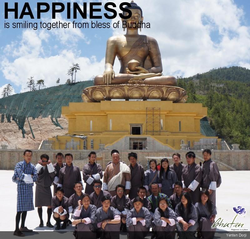Happiness is smiling together from bless of Buddha