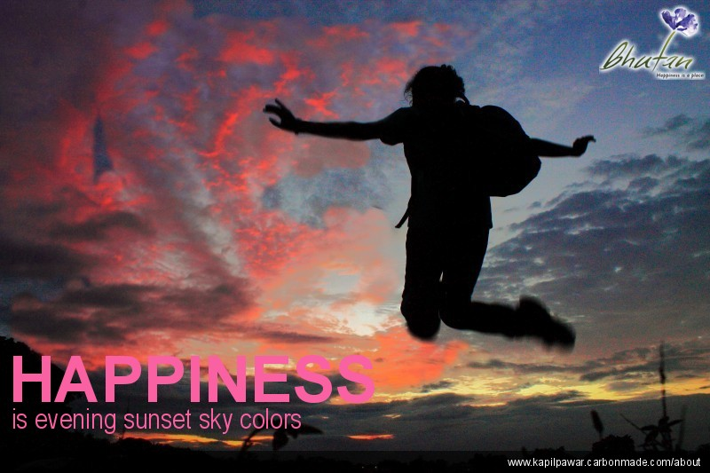 Happiness is evening sunset sky colors
