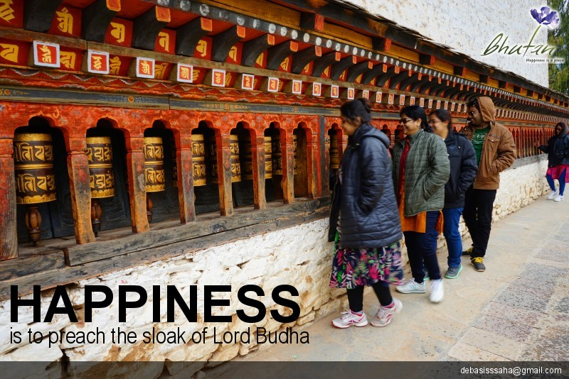 Happiness is to preach the sloak of Lord Budha