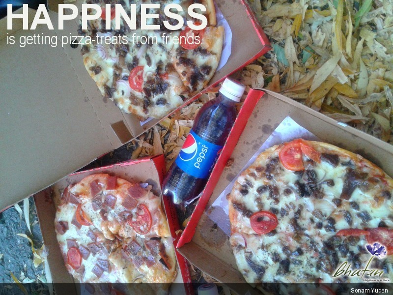 Happiness is getting pizza-treats from friends.