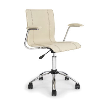 Mid-Back Black and White Leather Executive Swivel Office Chair, CH