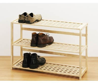 Image of: Rubber Wood Shoe Rack Shelf