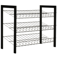 Image of: Black 3 Tier Shoe Rack - 10 Pairs
