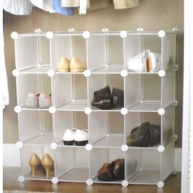 Image of: Interlocking Shoe Rack - 16 Pairs