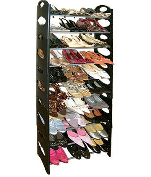 Image of: Black Shoe Rack - 30 Pairs