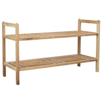 Image of: Walnut Wooden Two Tier Shoe Rack