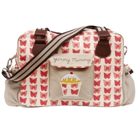 Image of: Yummy Mummy Baby Changing Bag - Red Butterflies