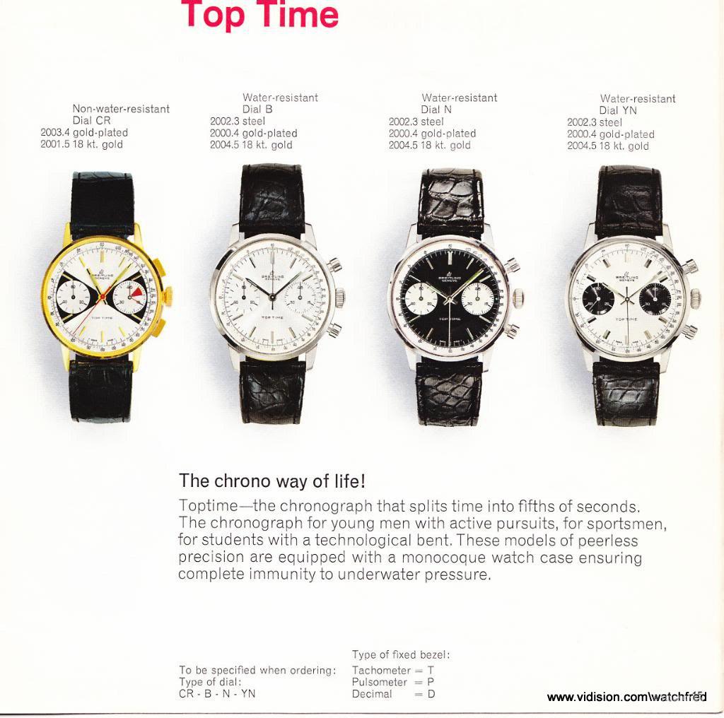 Top Time serien med de respektive skive- og kasse-variantene. Kilde:  Watchfred ( Breitlingsource)