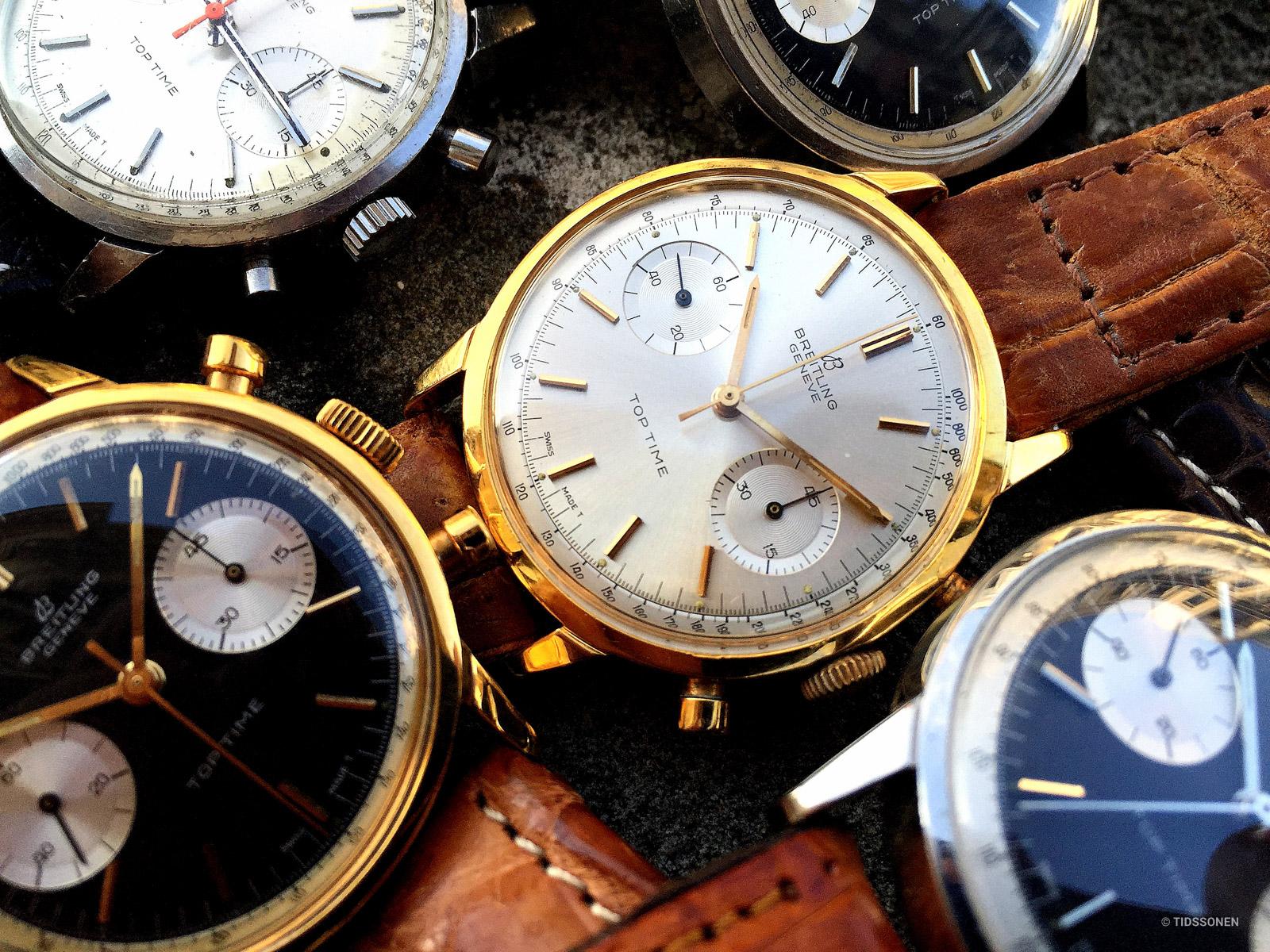 Top Time modellene kom også med kasser i gull-på-stål (2003) og 18 karat gull (2004). Bilde: Watchfred (Breitlingsource).
