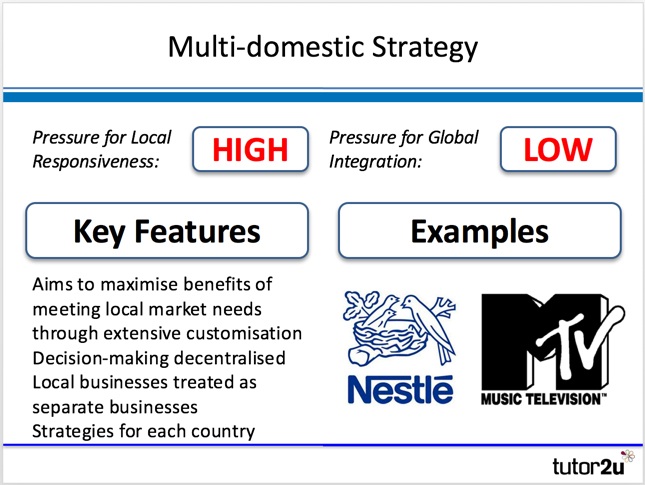 multidomestic strategy Multidomestic/ multinational strategy to achieve different strategic objectives this strategy gives prime importance to one of the means, national differences this strategy is a collection of relatively independent subsidiaries, each focusing on specific domestic market the company manages its business with minimal direction from headquarter.