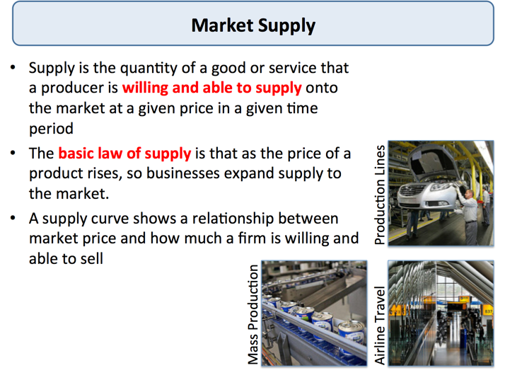what is market supply Define excess supply and explain what you would expect to happen to the market price when supply is greater than demand and there are unsold goods in the market surpluses put downward pressure on the market price.