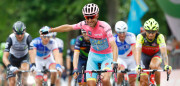 Pink jersey Italy's Vincenzo Nibali crosses the finish line of the 21th and last stage of the 99th Giro d'Italia, Tour of Italy, from Cuneo to Turin on May 29, 2016. Astana's Vincenzo Nibali secured his second Giro d'Italia triumph today after topping a dramatic 99th edition that saw key rival Steven Kruijswijk crash in the final stages of the race. Giacomo Nizzolo, of the Trek team, claimed the final stage honours after outsprinting his rivals in a bunch sprint in Turin. Nibali, who won the race for the first time in 2013, becomes the 69th Italian in 99 editions to win the race for the pink jersey.  / AFP / Luk BENIES        (Photo credit should read LUK BENIES/AFP/Getty Images)
