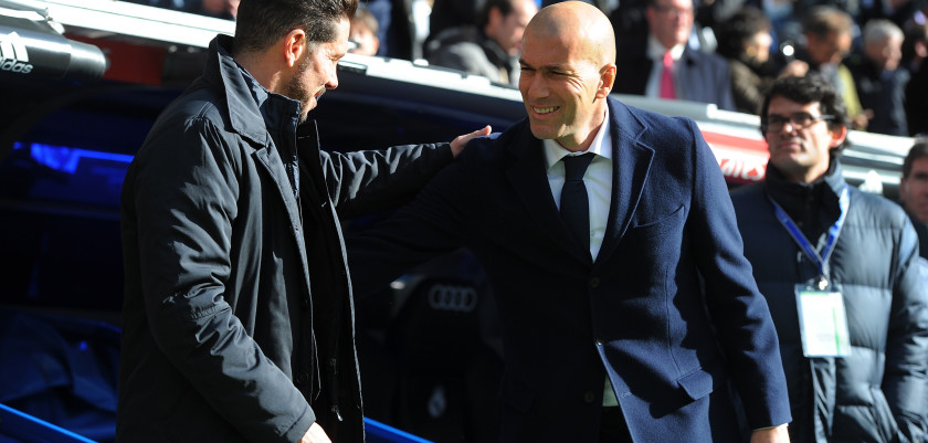 MADRID, SPAIN - FEBRUARY 27:  Manager Diego Simeone of Club Atletico de Madrid greets Real Madrid manager Zinedine Zidane during the La Liga match between Real Madrid CF and Club Atletico de Madrid at Estadio Santiago Bernabeu on February 27, 2016 in Madrid, Spain.  (Photo by Denis Doyle/Getty Images)
