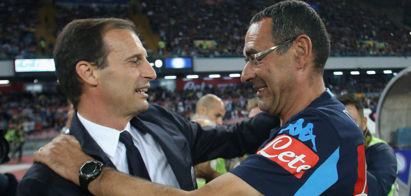NAPLES, ITALY - SEPTEMBER 26:  Head coach of Napoli Maurizio Sarri salutes head coach of Juventus Massimiliano Allegri during the Serie A match between SSC Napoli and Juventus FC at Stadio San Paolo on September 26, 2015 in Naples, Italy.  (Photo by Maurizio Lagana/Getty Images)