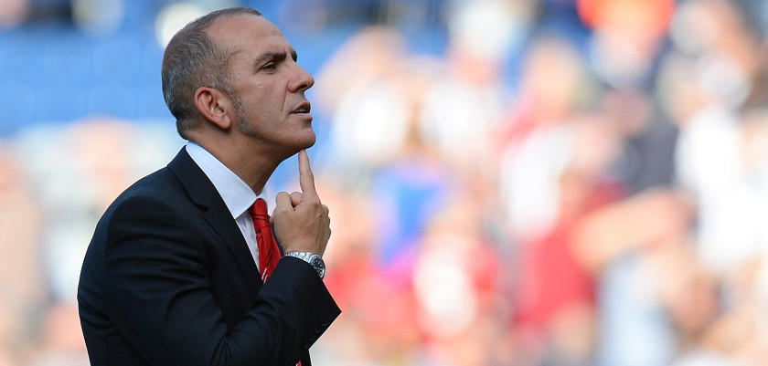 Sunderland manager Paolo Di Canio reacts towards the Sunderland fans after the English Premier League football match between West Bromwich Albion and Sunderland at The Hawthorns in West Bromwich, central England, on September 21, 2013.  West Bromwich Albion won 3-0.  AFP PHOTO / ANDREW YATES  RESTRICTED TO EDITORIAL USE. No use with unauthorized audio, video, data, fixture lists, club/league logos or live services. Online in-match use limited to 45 images, no video emulation. No use in betting, games or single club/league/player publications.        (Photo credit should read ANDREW YATES/AFP/Getty Images)