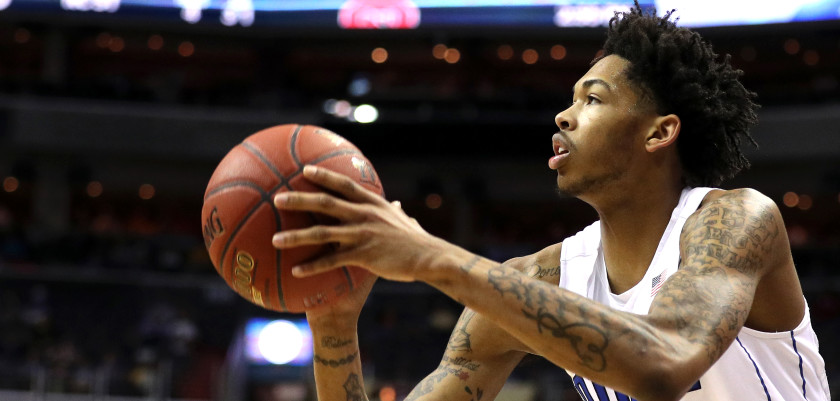 WASHINGTON, DC - MARCH 09: Brandon Ingram #14 of the Duke Blue Devils shoots against the North Carolina State Wolfpack during the first half in the second round of the 2016 ACC Basketball Tournament at Verizon Center on March 9, 2016 in Washington, DC. (Photo by Patrick Smith/Getty Images)