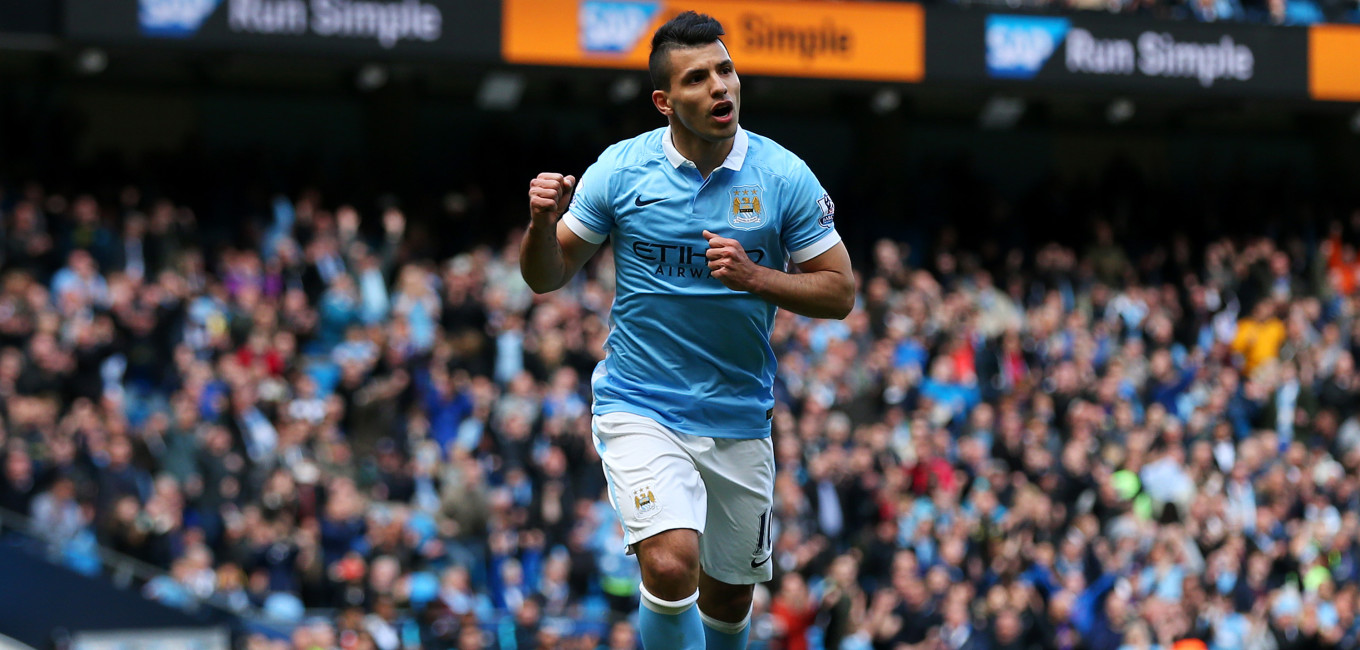 MANCHESTER, ENGLAND - APRIL 23:  Sergio Aguero of Manchester City celebrates after he scores the second goal of the game during the Barclays Premier League match between Manchester City and Stoke City at Etihad Stadium on April 23, 2016 in Manchester, United Kingdom.  (Photo by Chris Brunskill/Getty Images)