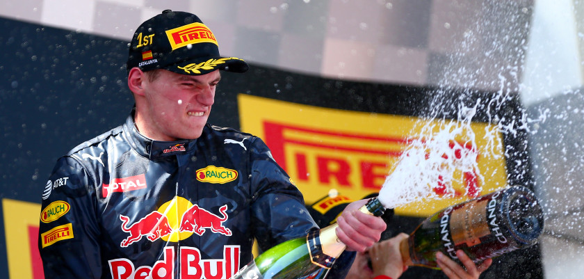 MONTMELO, SPAIN - MAY 15: Max Verstappen of Netherlands and Red Bull Racing sprays the champagne on the podium after his first F1 win during the Spanish Formula One Grand Prix at Circuit de Catalunya on May 15, 2016 in Montmelo, Spain.  (Photo by Dan Istitene/Getty Images)