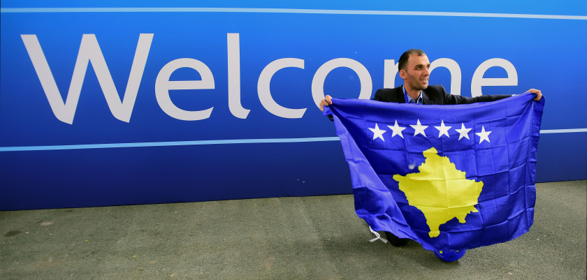 A delegation member of Kosovo celebrates the UEFA membership admission after the 40th Ordinary UEFA Congress at the Hungexpo Fair Center in Budapest, Hungary, on May 3, 2016. / AFP / ATTILA KISBENEDEK        (Photo credit should read ATTILA KISBENEDEK/AFP/Getty Images)