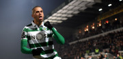 Sporting's Algerian forward Islam Slimani celebrates after scoring a goal during the Portuguese league football match FC Pacos de Ferreira vs Sporting CP at the Capital do Movel stadium in Pacos de Ferreira on January 23, 2016.  AFP PHOTO / FRANCISCO LEONG / AFP / FRANCISCO LEONG        (Photo credit should read FRANCISCO LEONG/AFP/Getty Images)
