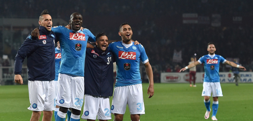 TURIN, ITALY - MAY 08:  Marek Hamsik, Kalidou Koulibaly, Lorenzo Insigne and Faouzi Ghoulam of SSC Napoli celebrate victory at the end of the Serie A match between Torino FC and SSC Napoli at Stadio Olimpico di Torino on May 8, 2016 in Turin, Italy.  (Photo by Valerio Pennicino/Getty Images)