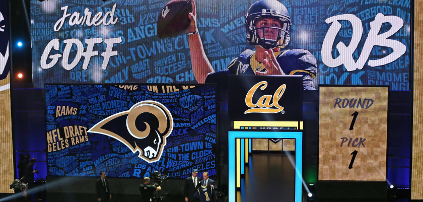 CHICAGO, IL - APRIL 28:  Jared Goff poses with Roger Goodell after being drafted by the Los Angeles Rams during the 2016 NFL Draft at the Auditorium Theater on April 28, 2016 in Chicago, Illinois.  (Photo by Jonathan Daniel/Getty Images)