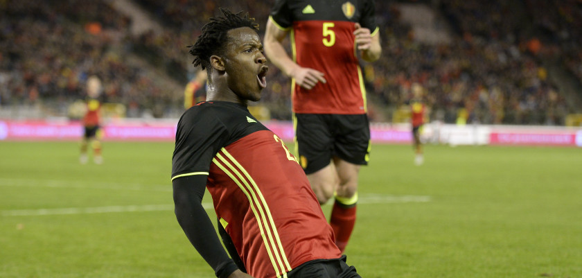 Belgium's forward Michy Batshuayi celebrates after scoringduring the friendly football match between Belgium and Italy at the King Baudouin Stadium on November 13, 2015 in Brussels. AFP PHOTO / JOHN THYS        (Photo credit should read JOHN THYS/AFP/Getty Images)