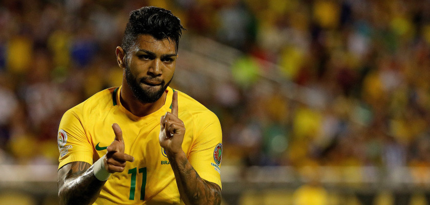 ORLANDO, FL - JUNE 08:  Gabriel #11 of Brazil celebrates a goal during a Group B match of the 2016 Copa America Centenario against the Haiti at Camping World Stadium on June 8, 2016 in Orlando, Florida.  (Photo by Mike Ehrmann/Getty Images)