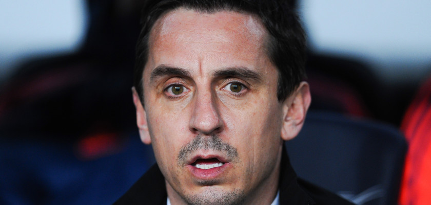 BARCELONA, SPAIN - FEBRUARY 03:  Head coach Gary Neville of Valencia CF looks on during the Copa del Rey Semi Final first leg match between FC Barcelona and Valencia at Nou Camp on February 3, 2016 in Barcelona, Spain.  (Photo by David Ramos/Getty Images)