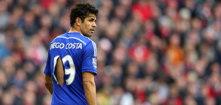 LIVERPOOL, ENGLAND - NOVEMBER 08:  Diego Costa of Chelsea looks on with a ripped shirt during the Barclays Premier League match between Liverpool and Chelsea at Anfield on November 8, 2014 in Liverpool, England.  (Photo by Alex Livesey/Getty Images)