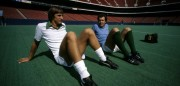 (l-r) New York Cosmos players Johan Cruyff and Franz Beckenbauer during training for their Soccer Bowl match against Tampa Bay Rowdies