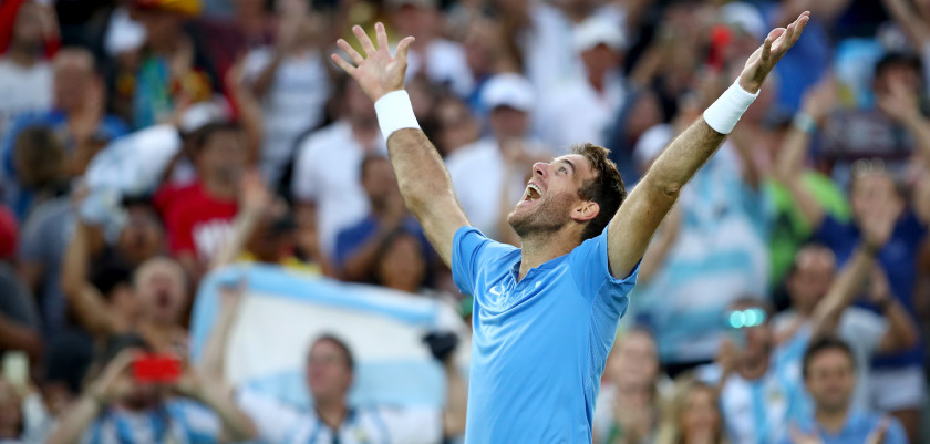 RIO DE JANEIRO, BRAZIL - AUGUST 13:  Juan Martin Del Potro of Argentina reacts after defeating Rafael Nadal of Spain in the Men's Singles Semifinal Match on Day 8 of the Rio 2016 Olympic Games at the Olympic Tennis Centre on August 13, 2016 in Rio de Janeiro, Brazil. Del Potro defeated Nadal 5-7, 6-4, 7-6(5).  (Photo by Clive Brunskill/Getty Images)