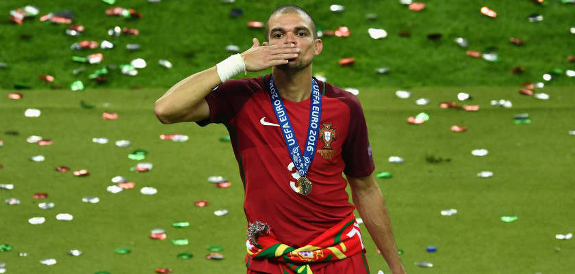 PARIS, FRANCE - JULY 10:  Pepe of Portugal celebrates after his team's 1-0 win against France in the UEFA EURO 2016 Final match between Portugal and France at Stade de France on July 10, 2016 in Paris, France.  (Photo by Dan Mullan/Getty Images)