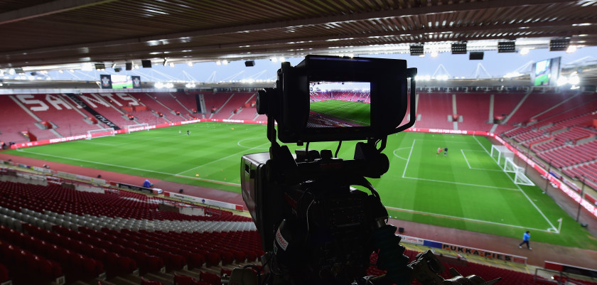 SOUTHAMPTON, ENGLAND - FEBRUARY 06:  A TV camera in situ inside the stadium prior to the Barclays Premier League match between Southampton and West Ham United at St Mary's Stadium on February 6, 2016 in Southampton, England.  (Photo by Alex Broadway/Getty Images)
