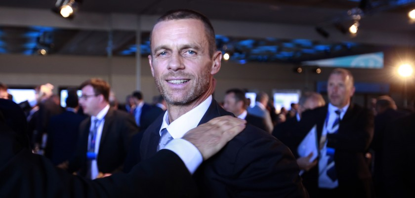 ATHENS, GREECE - SEPTEMBER14: Newly elected UEFA President Aleksander Ceferin is congratulated at the 12th Extraordinary UEFA congress in  in Athens, Greece  14 September 2016.   (Photo by Milos Bicanski/Getty Images)