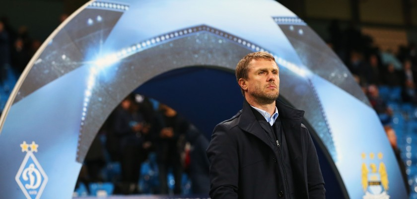 MANCHESTER, ENGLAND - MARCH 15:  Serhiy Rebrov head coach of Dynamo Kiev looks on prior to the UEFA Champions League round of 16 second leg match between Manchester City FC and FC Dynamo Kyiv at the Etihad Stadium on March 15, 2016 in Manchester, United Kingdom.  (Photo by Alex Livesey/Getty Images)