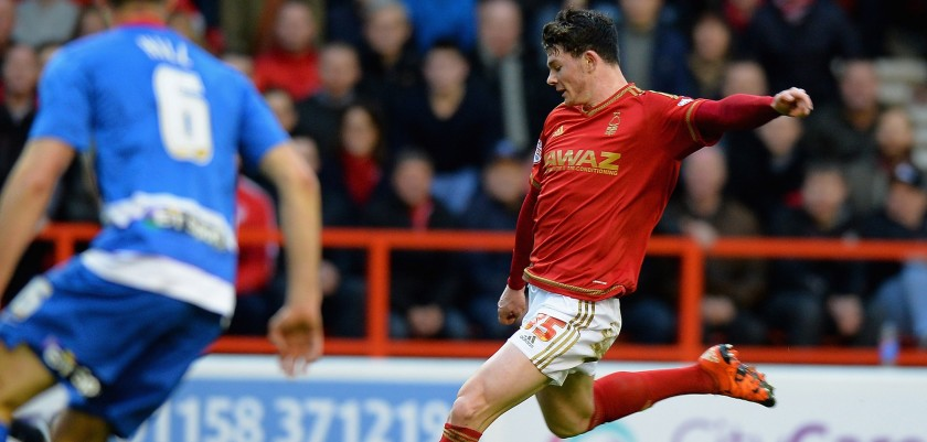 NOTTINGHAM, ENGLAND - JANUARY 09:  Oliver Burke of Nottingham Forest scores their first goal during The Emirates FA Cup Third Round match between Nottingham Forest and Queens Park Rangers at City Ground on January 9, 2016 in Nottingham, England.  (Photo by Tony Marshall/Getty Images)