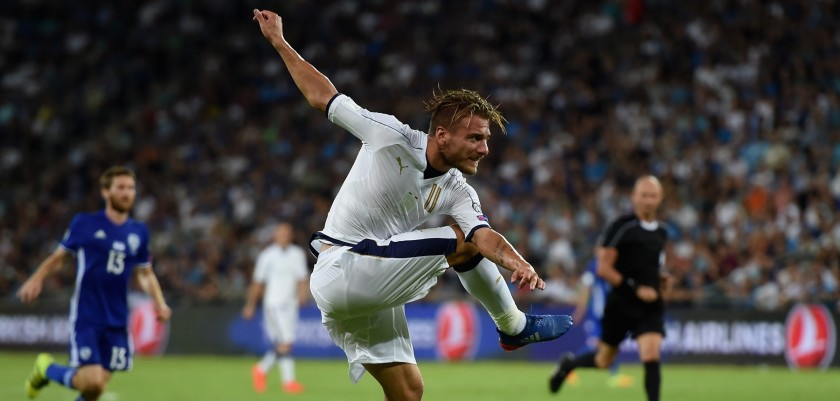 HAIFA, ISRAEL - SEPTEMBER 05:  Ciro Immobile of Italy scores the third goal during the FIFA 2018 World Cup Qualifier between Israel and Italy at Itztadion Sammy Ofer on September 5, 2016 in Haifa, Israel .  (Photo by Claudio Villa/Getty Images)
